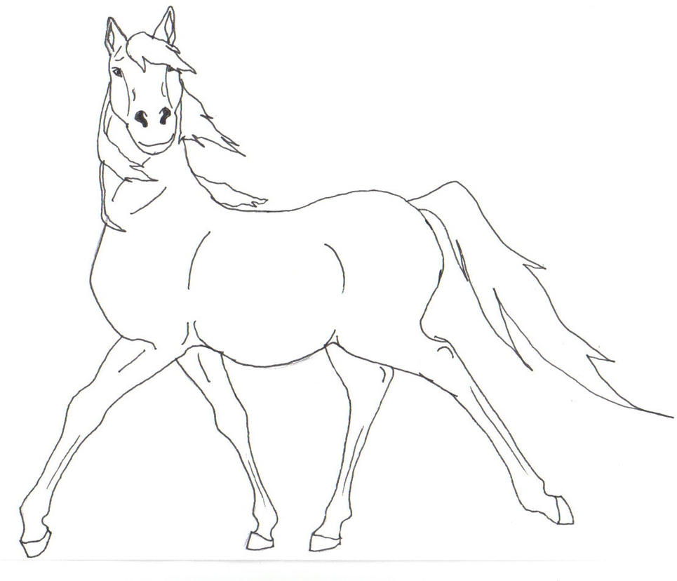 Simple Horse Lineart : Rearing horse outline
