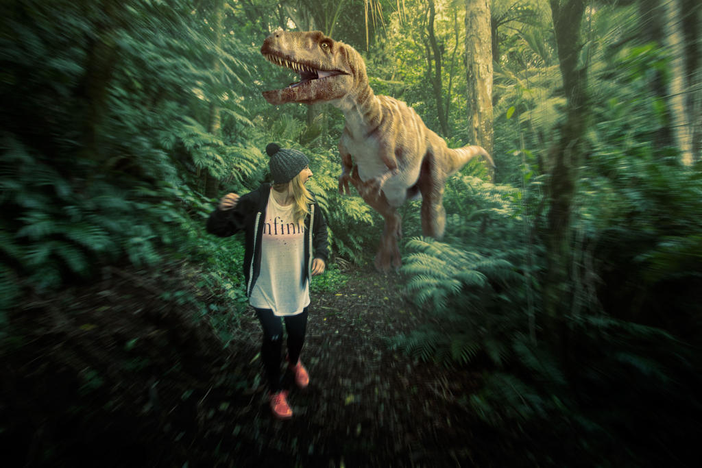 Chased by the local Dinosaur by Riddlez46