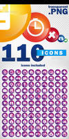 110 icons pack - transparent png + vector