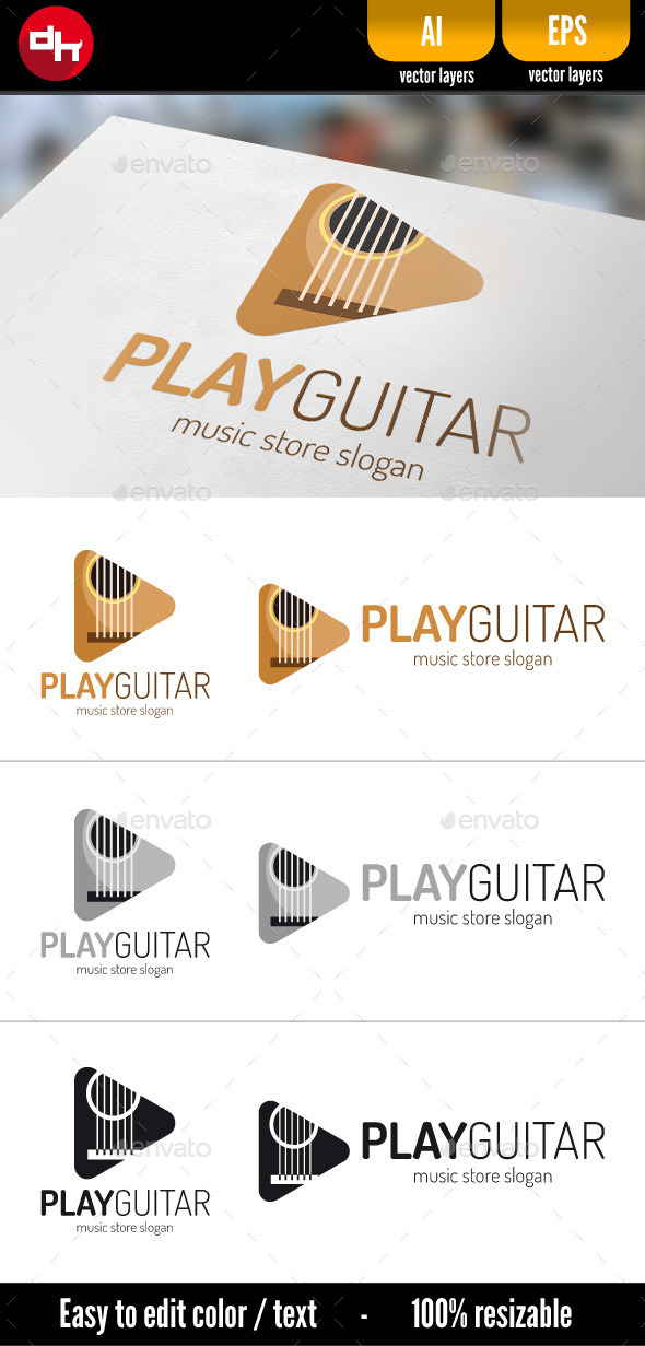 Play Guitar - Logo Template by doghead