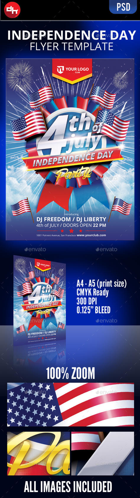 4th of July Flyer Template by doghead