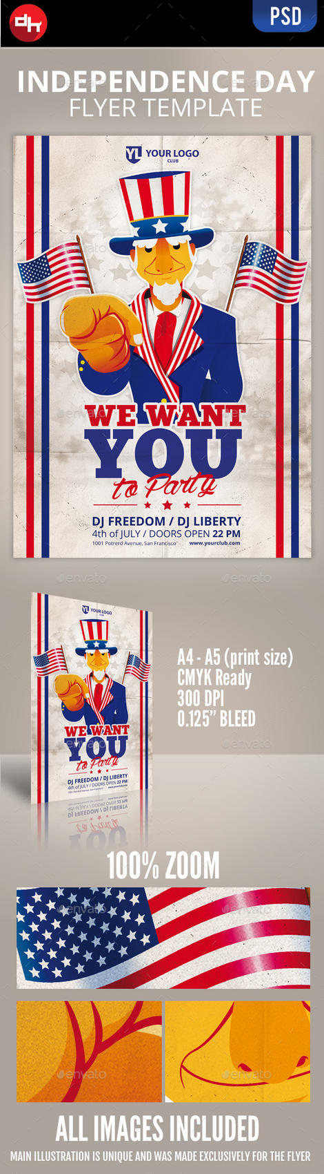 We Want You: Independence day Flyer Template by doghead