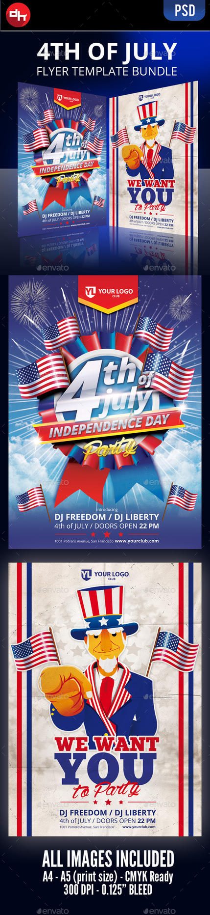 4th of July - Flyer Bundle by doghead