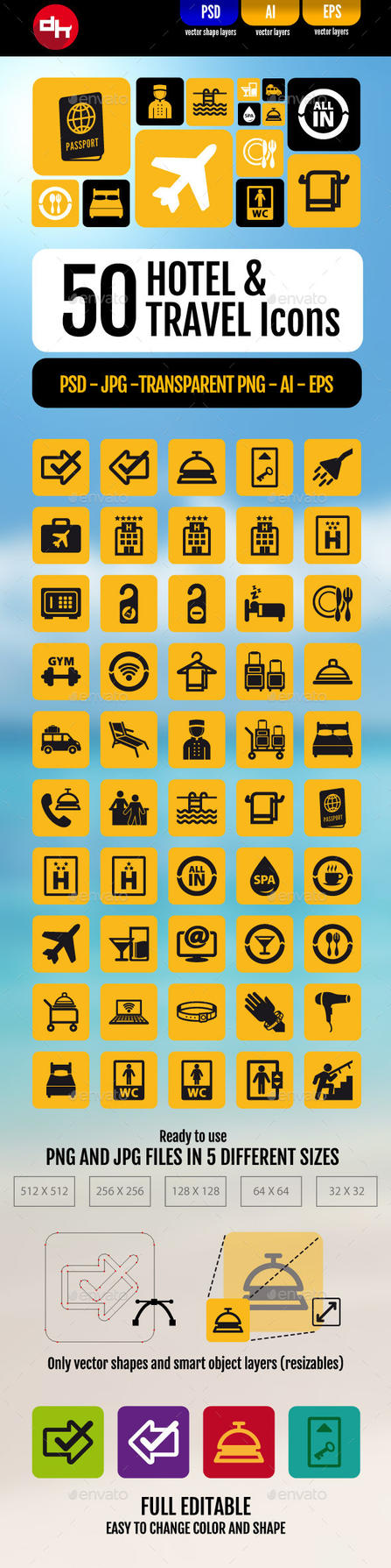 50 Hotel and Travel Icons by doghead