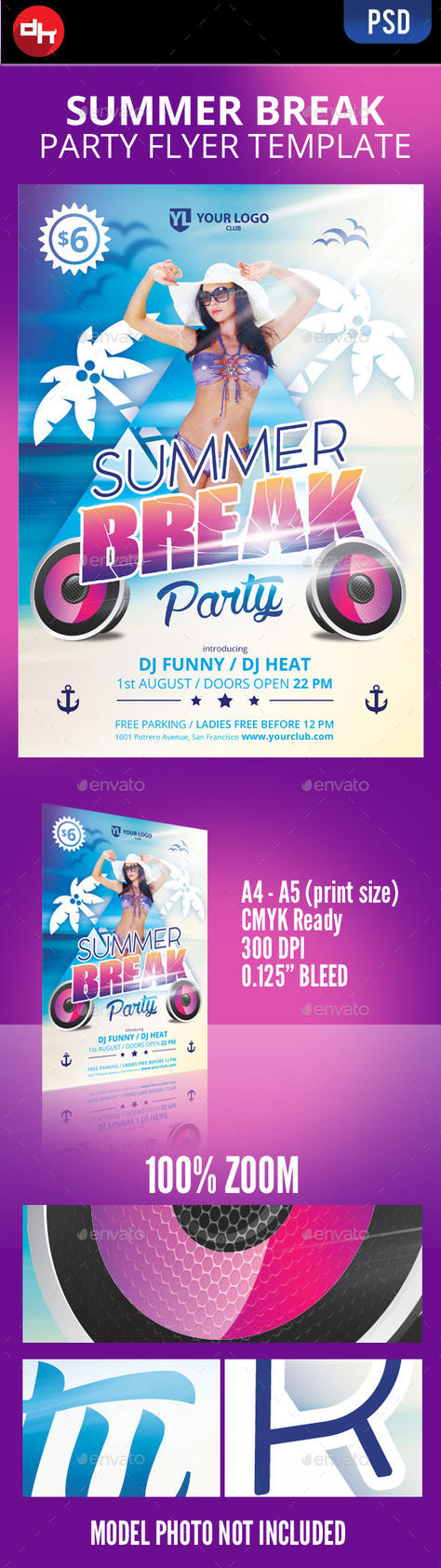 Summer break flyer template by doghead
