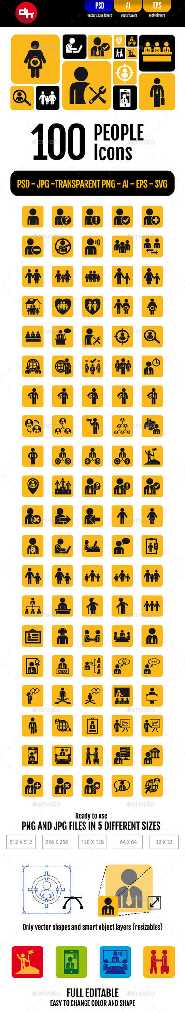 100 People Icons Pack by doghead