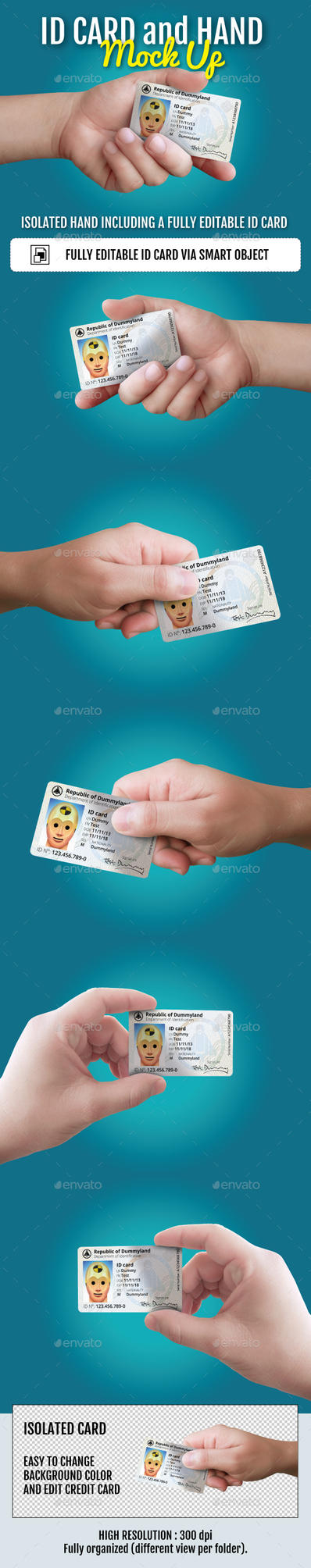 ID Card and Hand Mockup by doghead