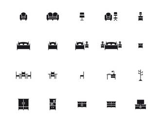 Furniture icons set by doghead