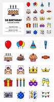 20 Birthday Color Icon Set