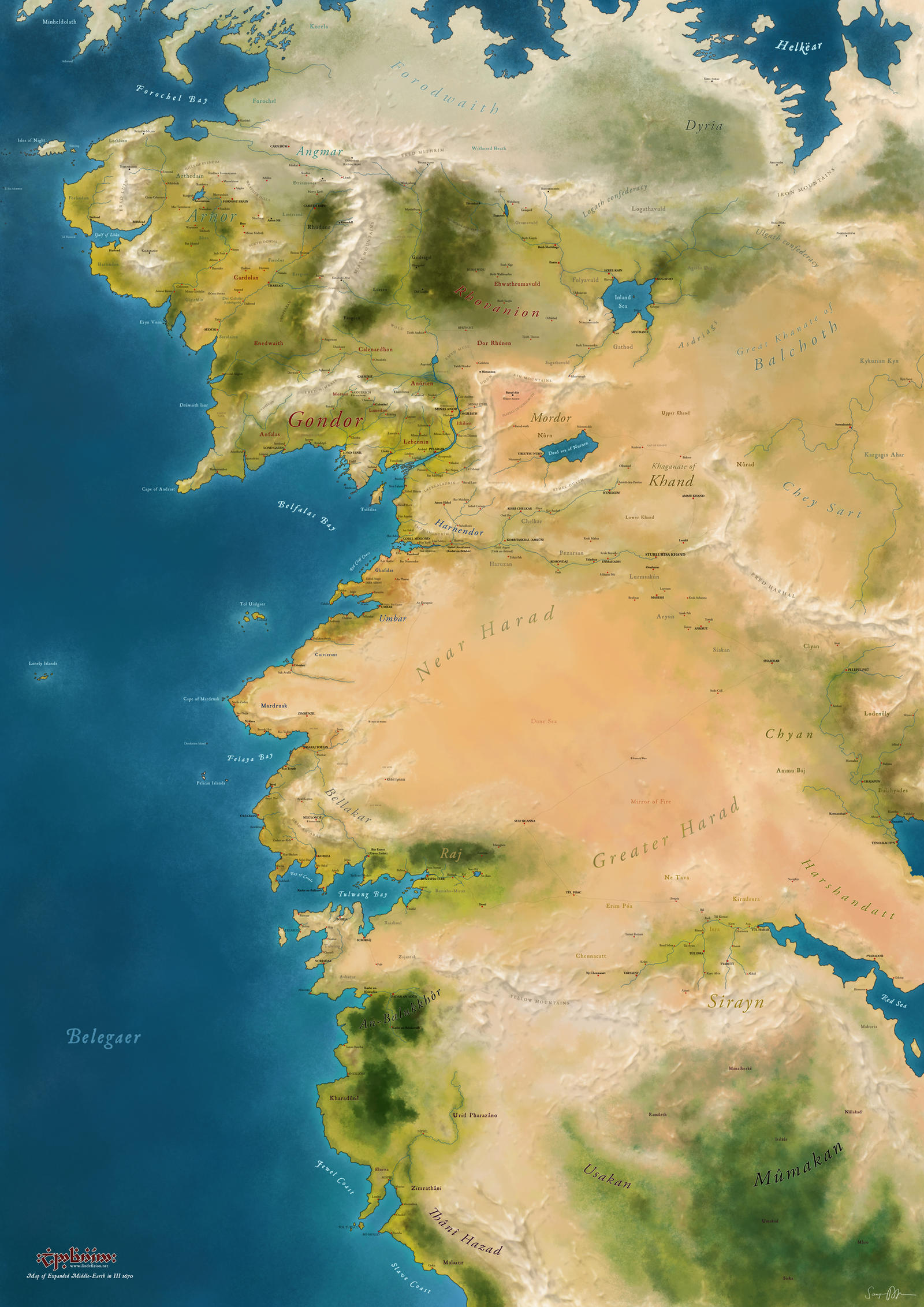 Expanded map of western Middle-earth