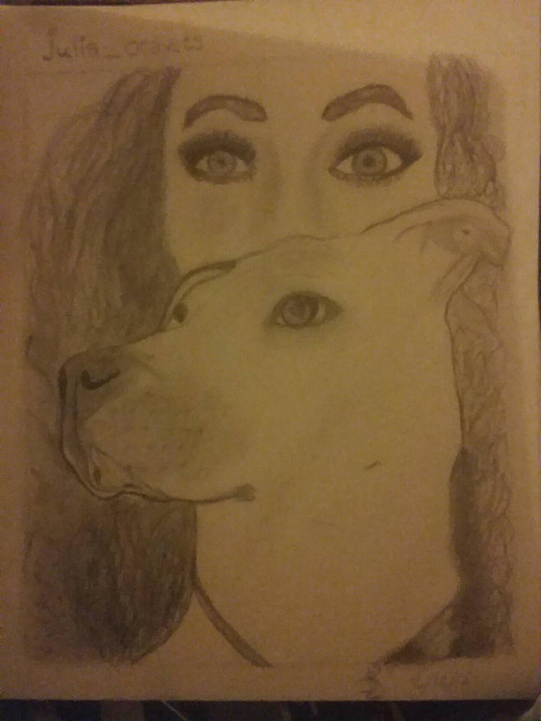 My sketch of my friend and her dog  by HerFWild
