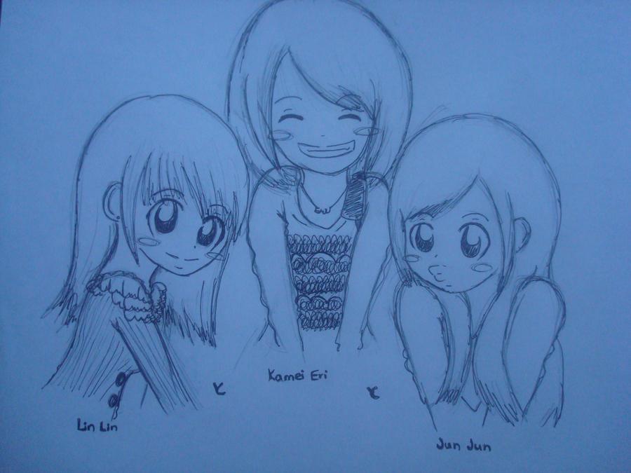 Lin Eri and Jun sketch by kawaii-beam