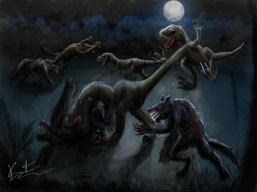 Raptors vs Werewolves by kmgenius on DeviantArt