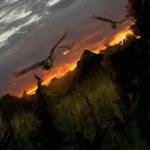 Eagles at Dusk by kmgenius