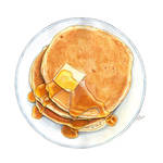 Pancakes, butter and syrup