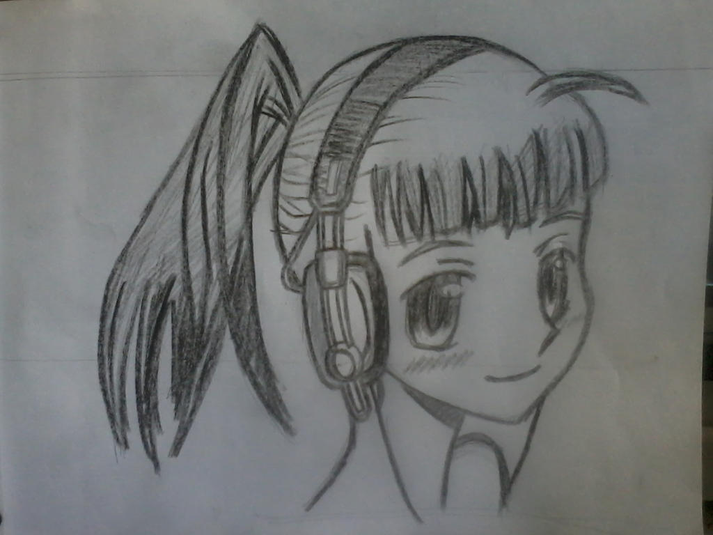 Pictures Of Anime Girl With Headphones And Hoodie Drawing