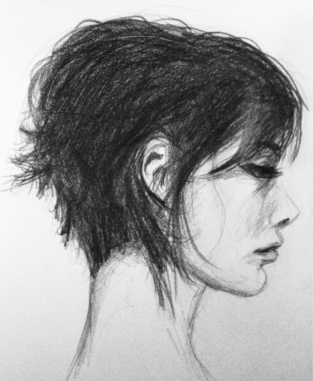 Side Portrait of a Woman by Adonenniel on DeviantArt Woman Side Profile Drawing