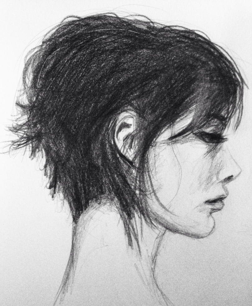 profile face by dashinvaine on DeviantArt |Female Side Face Drawing