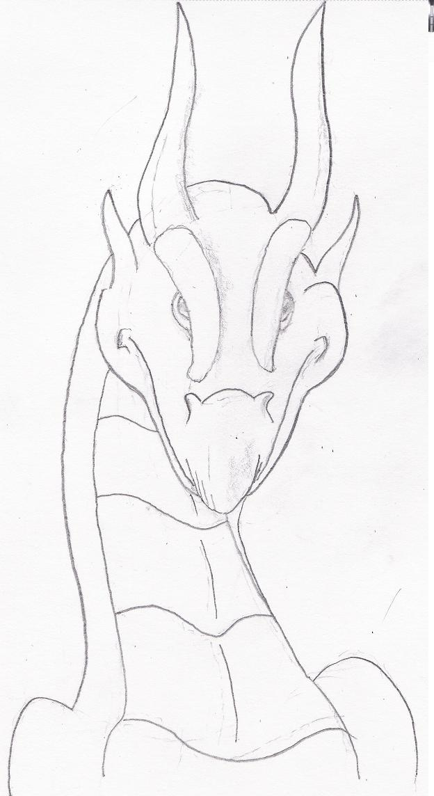 how to draw a dragon head front view