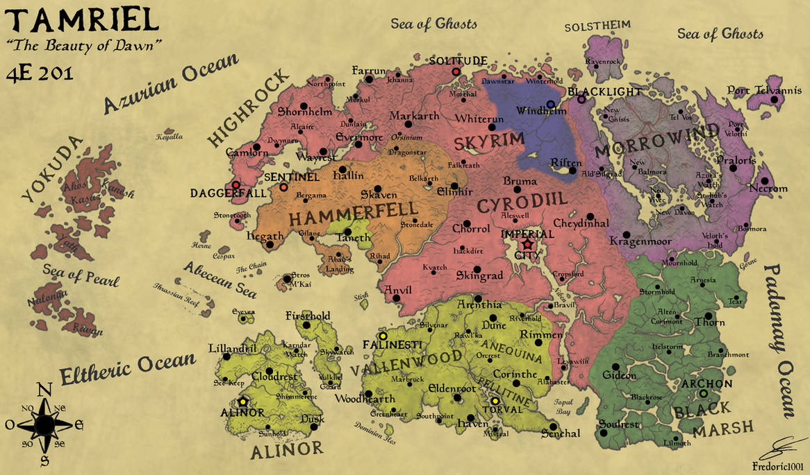 Geopolitical Map Of Tamriel In 4e201 English By Fredoric1001 On