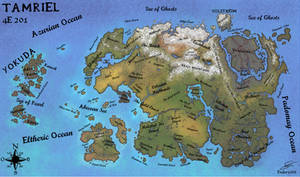 Geographic map of Tamriel in 4E201 (English)