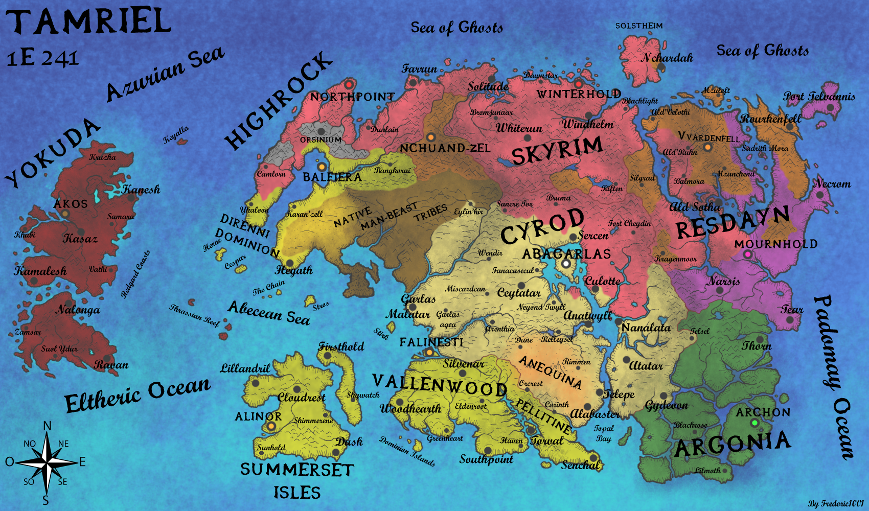 Geopolitical map of tamriel in 1e241 by fredoric1001 on deviantart