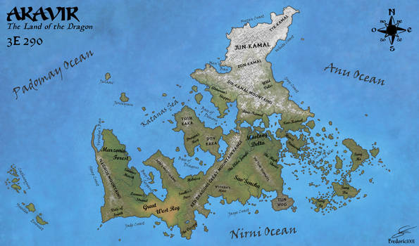 Geographic map of Akavir in 3E 290