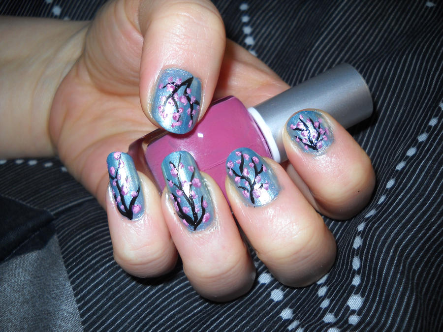 Cherry Blossom Trees Nail Art by Animalluver1985 on DeviantArt