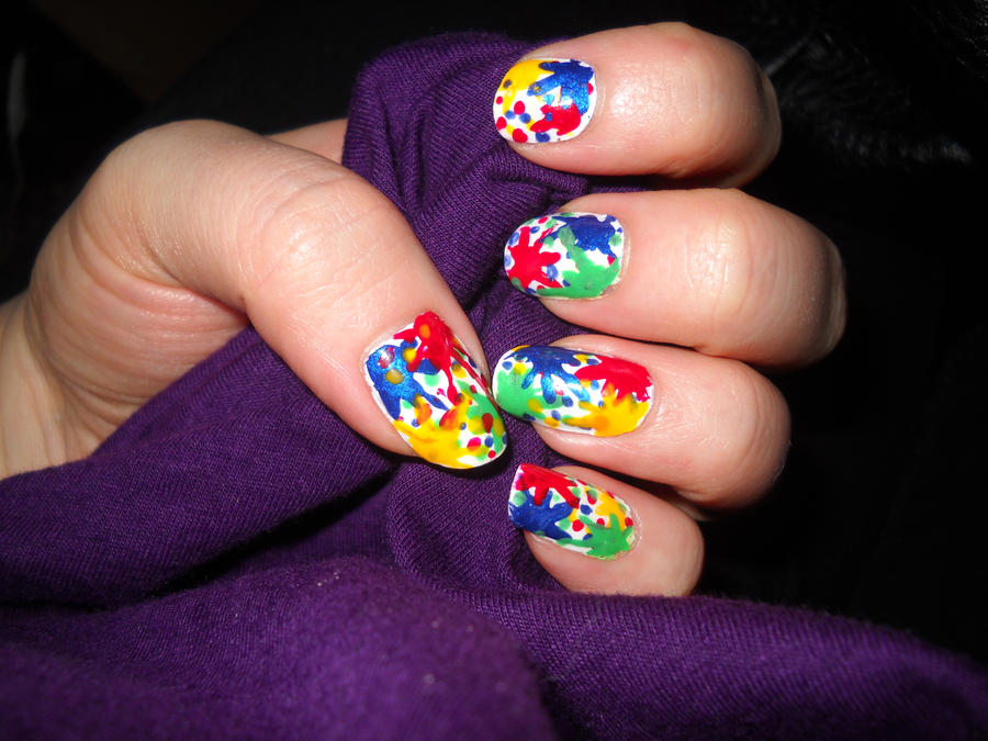 Paint Splatter Nails By Animalluver1985 On Deviantart