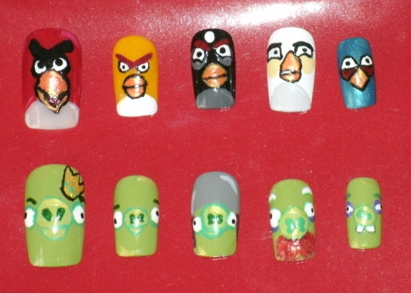 Angry Birds and Pigs Nail Art by Animalluver1985 on DeviantArt