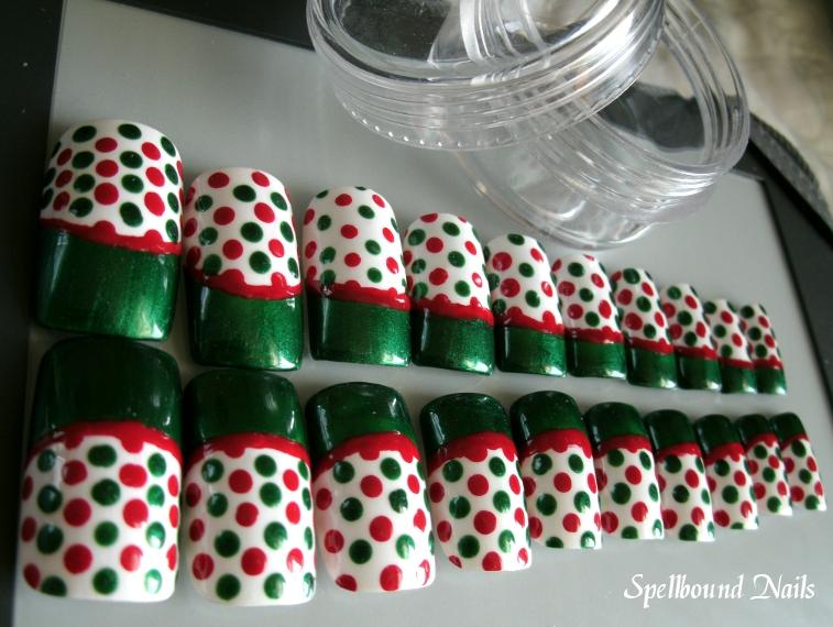 Christmas Bag Inspired Nail Art