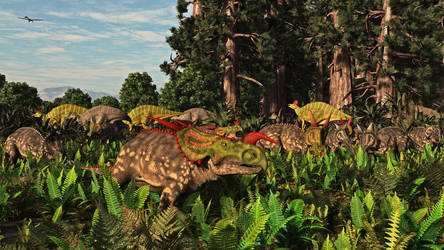 Einiosaurus\Hypacrosaurus: Two Medicine Formation by PrehistoricArt