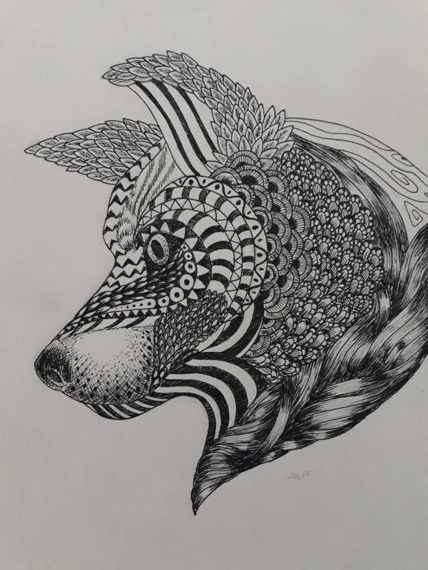 Doodles  Zentangles: Wolf-Tangle by AdamFegarido