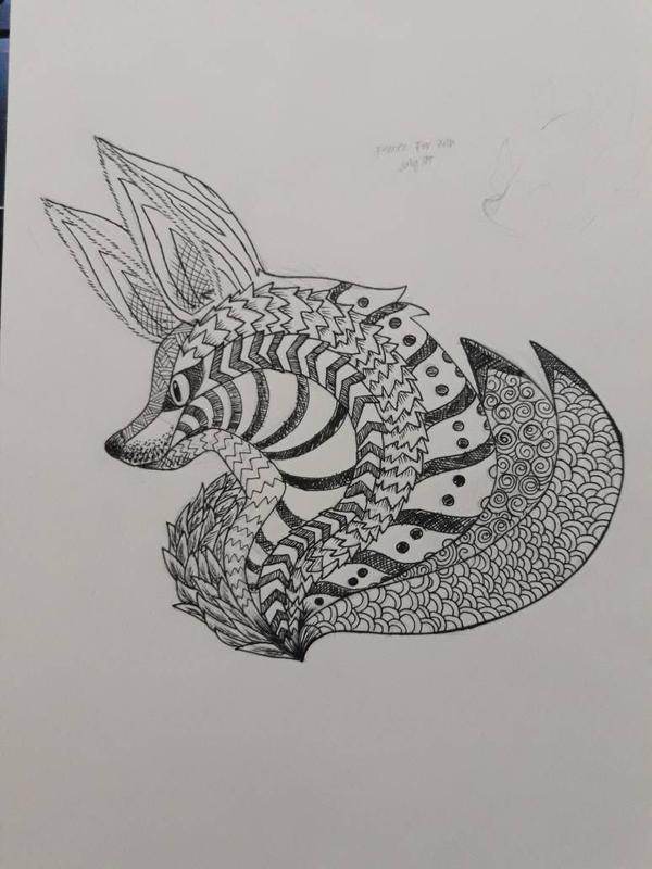 Doodles  Zentangles: Fox-tangle by AdamFegarido