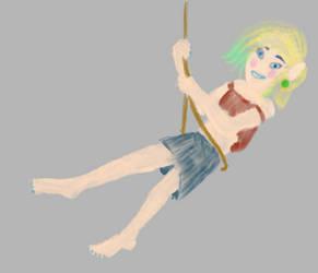 Happy birthday: Johua on swings