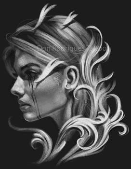 Mulher em preto e branco