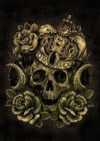 skull crown and roses by andre77rodrigues