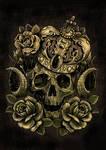 skull crown and roses