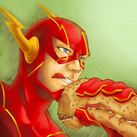 Flash Eating a Hero Sandwich (colored)
