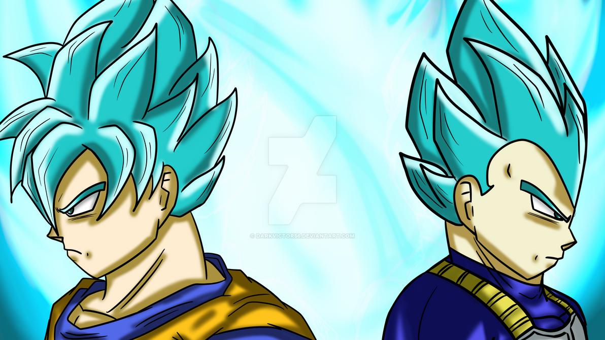 Goku and Vegeta Super saiyan Blue. by Darkvictor56