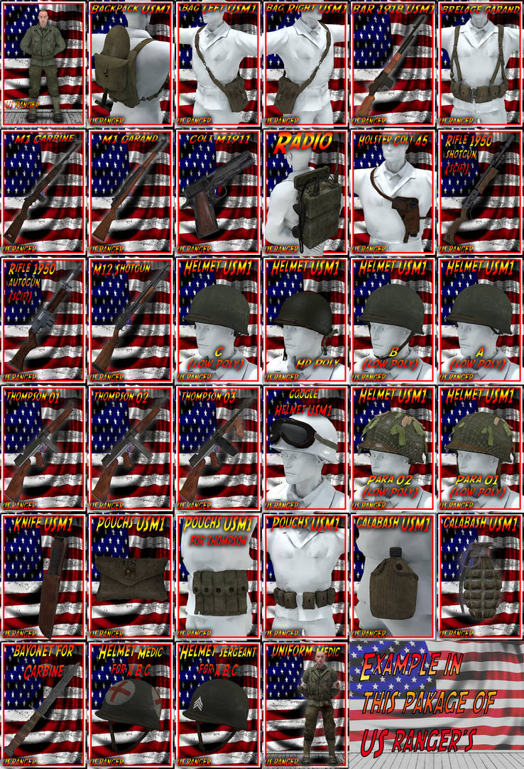 US rangers 3d models all option in the package daz by jibicoco
