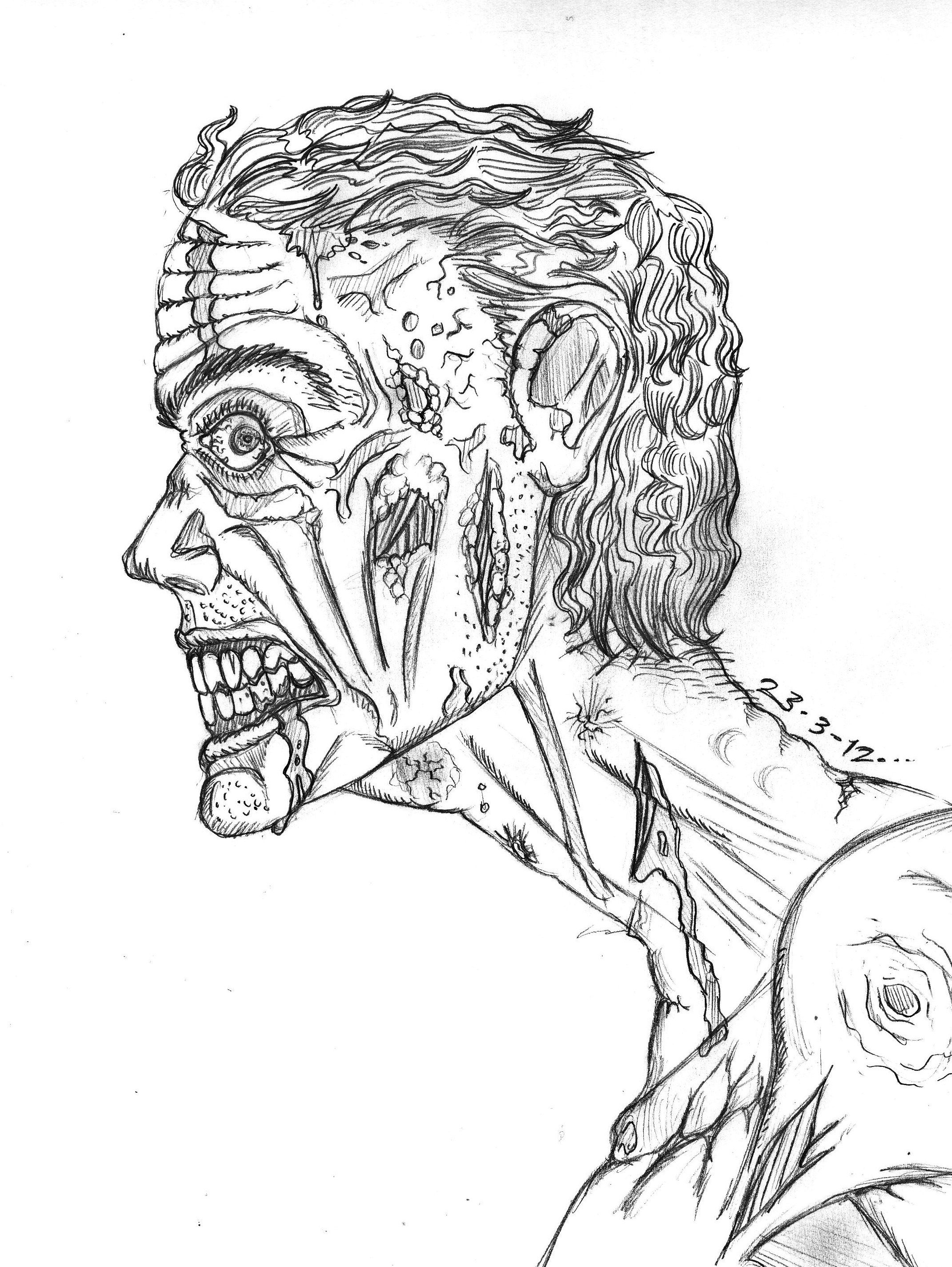 Zombie sketch by thewallproducciones on deviantart Zombie coloring book for adults
