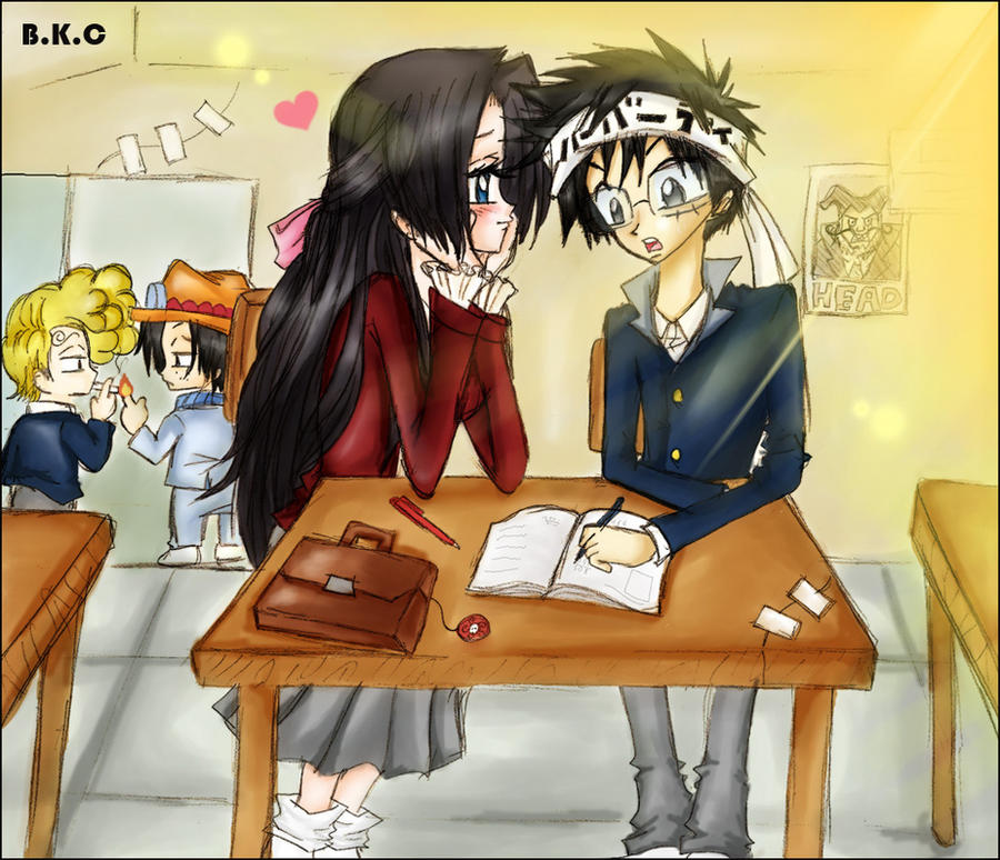 Luffy x hancock in the school by bekacca on deviantart - One piece luffy x hancock ...
