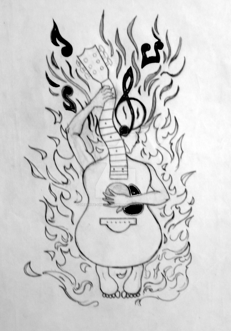 guitar tattoo design pencil and ink xerox paper by definite chiaroscuro on deviantart. Black Bedroom Furniture Sets. Home Design Ideas