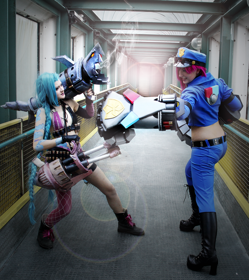 League of Legends Vi and Jinx by TessaCrownster