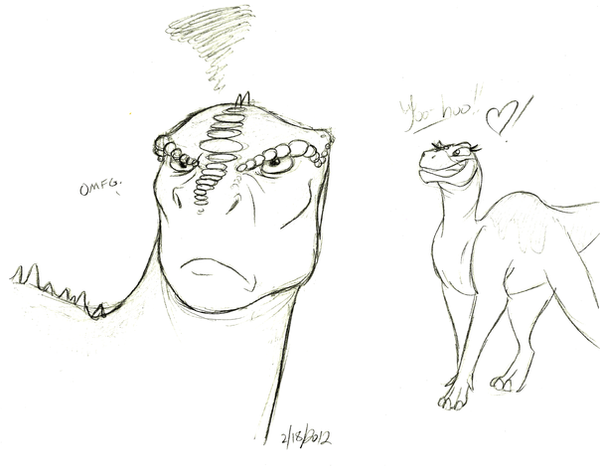 Aladar is not amused by stray sketches on deviantart for Iguanodon coloring page