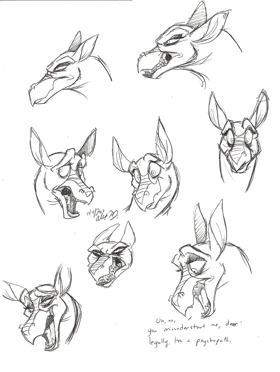 Titan A.E.-Djetta warm-up sketches by Stray-Sketches