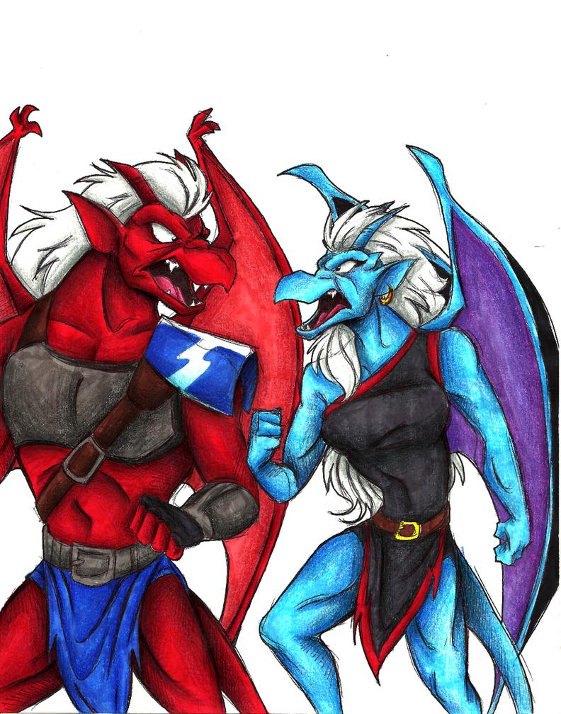 Gargoyles-Pissing Contest WIP by Stray-Sketches on DeviantArt