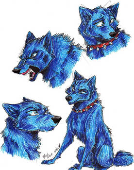 Wolf's Rain-cartoon Blue doodles