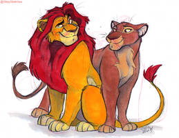 TLK-Mufasa and Sarabi by Stray-Sketches